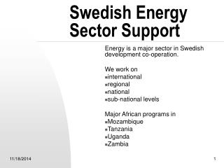 Swedish Energy Sector Support