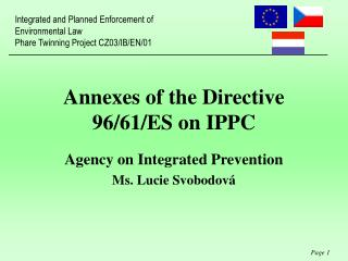 Annexes of the Directive 96/61/ES on IPPC