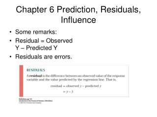 Chapter 6 Prediction, Residuals, Influence