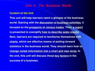 Unit  6    The  Business  World