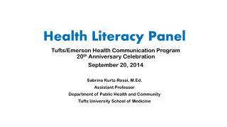 Health Literacy Panel