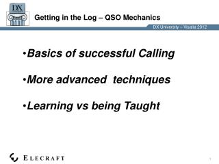 Getting in the Log – QSO Mechanics