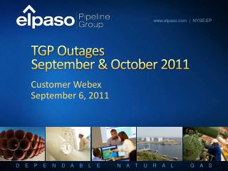 TGP Outages September & October 2011