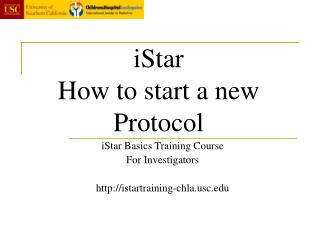 iStar How to start a new Protocol
