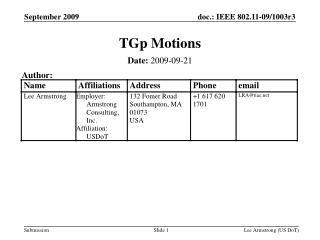 TGp Motions