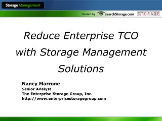 Reduce Enterprise TCO with Storage Management Solutions
