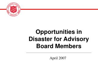 Opportunities in Disaster for Advisory Board Members