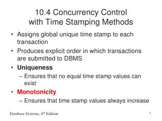 10.4 Concurrency Control  with Time Stamping Methods