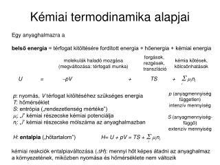 Kémiai termodinamika alapjai