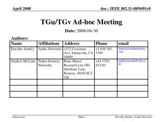TGu/TGv Ad-hoc Meeting