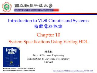 Chapter 10 System Specifications Using Verilog HDL