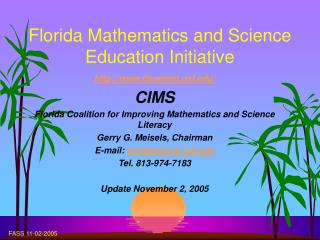 Florida Mathematics and Science Education Initiative