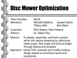 Disc Mower Optimization
