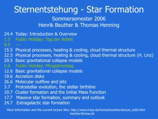 Sternentstehung - Star Formation