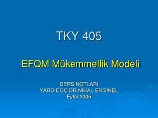 TKY 405 EFQM M�kemmellik Modeli