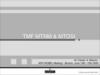 TMF MTNM & MTOSI