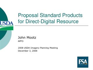 Proposal Standard Products for Direct-Digital Resource