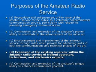 Purposes of the Amateur Radio Service