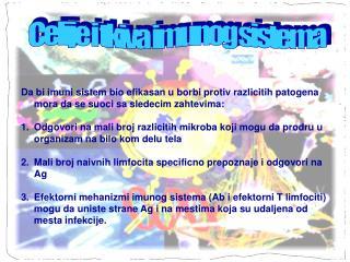 Celije i tkiva imunog sistema