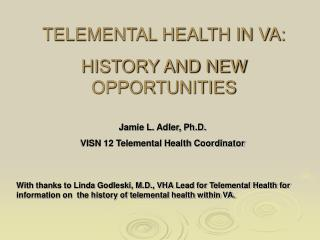 TELEMENTAL HEALTH IN VA: HISTORY AND NEW OPPORTUNITIES