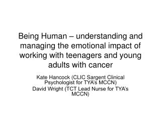 Kate Hancock (CLIC Sargent Clinical Psychologist for TYA's MCCN)