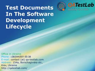 Test Documents In The Software Development Lifecycle