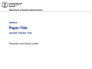 Authors Paper Title Journal, Volume, Year