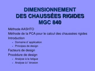 DIMENSIONNEMENT DES CHAUSSÉES RIGIDES MGC 840