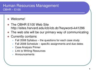 Human Resources Management OBHR – E100