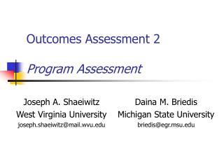 Outcomes Assessment 2 Program Assessment