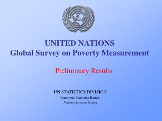 UNITED NATIONS Global Survey on Poverty Measurement