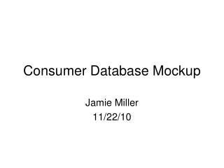 Consumer Database Mockup