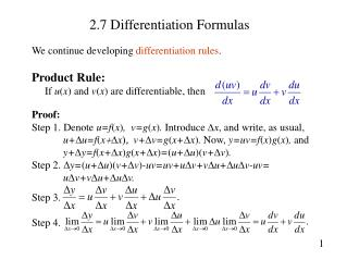 2.7 Differentiation Formulas