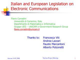 Italian and European Legislation on Electronic Communications