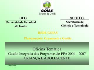 Oficina Temática Gestão Integrada dos Programas do PPA 2004 - 2007 CRIANÇA E ADOLESCENTE