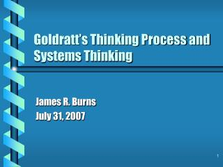 Goldratt's Thinking Process and Systems Thinking