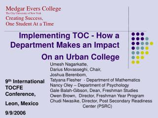 Implementing TOC - How a Department Makes an Impact On an Urban College