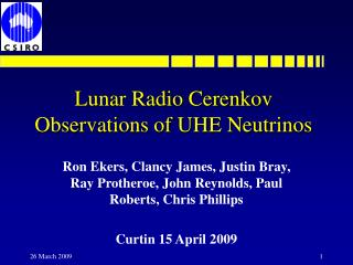 Lunar Radio Cerenkov Observations of UHE Neutrinos