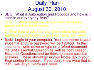 Daily Plan August 30, 2010