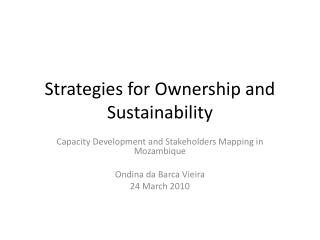 Strategies for Ownership and Sustainability