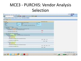 MCE3 - PURCHIS: Vendor Analysis Selection