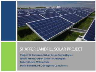 Shaffer Landfill Solar  PRoject