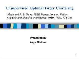 Unsupervised Optimal Fuzzy Clustering
