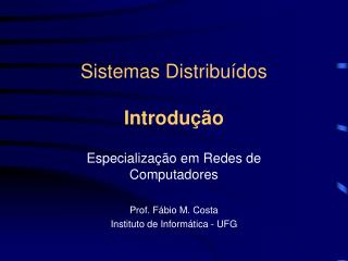 Sistemas Distribuídos Introdução