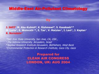 Middle-East Air-Pollutant Climatology by