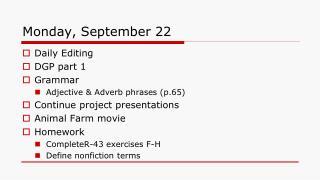 Monday, September 22