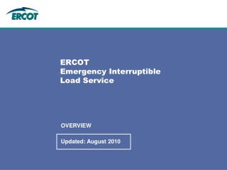 ERCOT Emergency Interruptible  Load Service