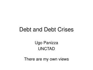 Debt and Debt Crises
