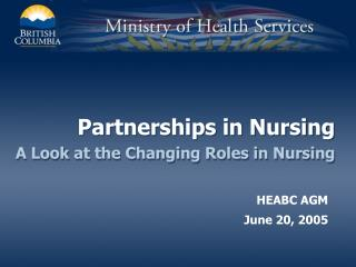 Partnerships in Nursing A Look at the Changing Roles in Nursing
