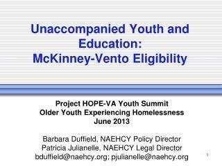 Unaccompanied Youth and Education: McKinney-Vento Eligibility